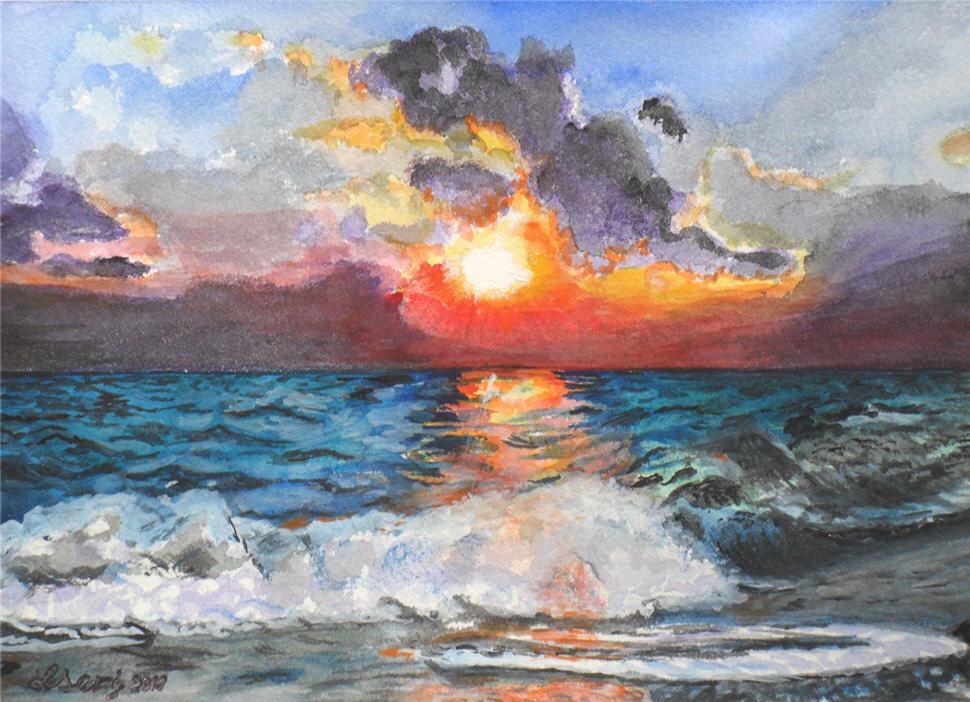ocean watercolor painting